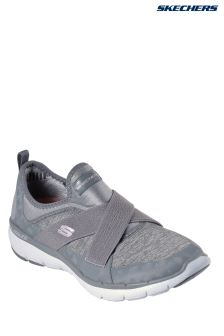 Skechers® Grey Sparkle Mesh Cross Strap Gore Slip-On With Air Cooled Memory Foam