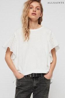 AllSaints White Noja Ruffle Sleeve T-Shirt