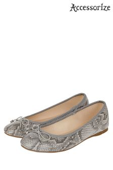Accessorize Grey Coralie Snake Ballerina Shoe
