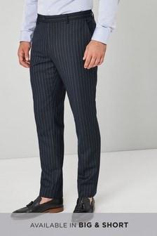 訂製剪裁條紋羊毛混紡西裝:西裝褲