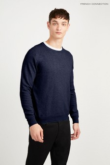 French Connection Blue Stretch Cotton Crew Neck Jumper