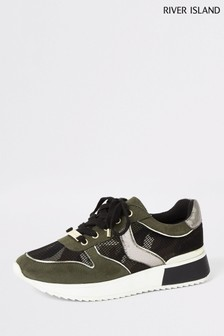 River Island Khaki/Pink Camo Lace-Up Runner