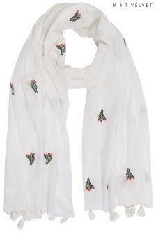 Mint Velvet White Embroidered Cactus Scarf