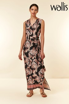 Wallis Black Paisley Tassel Maxi Dress