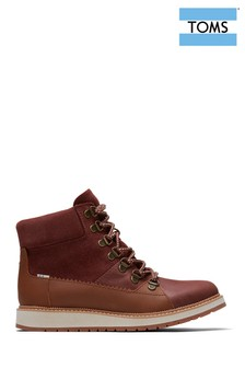 TOMS Brown Lace-Up Wedge Hiker Boots