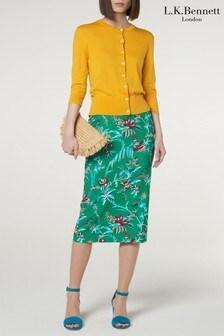 L.K.Bennett Green Rose Skirt