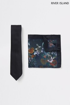 River Island Floral Tie And Pocket Square Set