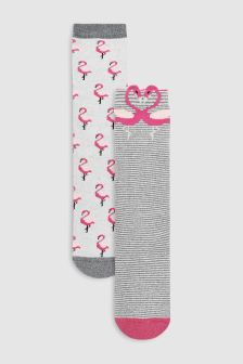 Flamingo Welly Socks Two Pack (Older)