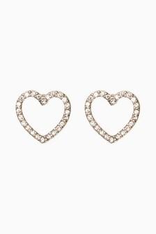 Diamanté Effect Heart Stud Earrings