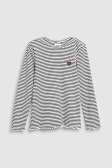 Stripe Long Sleeve Rib Top (3-16yrs)