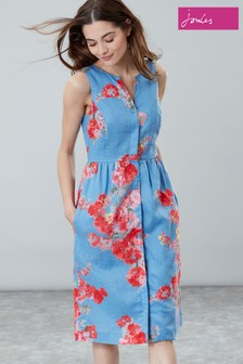 Joules Blue Lisia Linen Dress