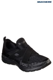 Skechers® Black Sparkle Mesh Cross Strap Gore Slip-On With Air Cooled Memory Foam