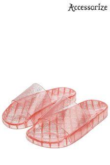 Accessorize Pink Jelly Glitter Slider
