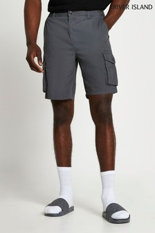 River Island Grey Dark Cargo Shorts