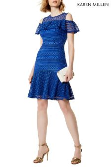 Karen Millen Blue Geo Chemical Lace Dress