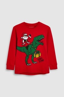 Christmas Dinosaur Graphic T-Shirt (3-16yrs)