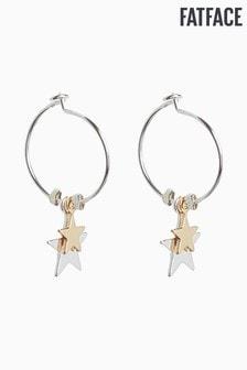 FatFace Silver Star Hoop Earrings