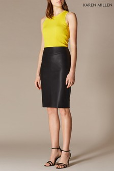 Karen Millen Black Faux Leather Skirt