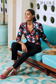 Pure Collection Black Relaxed Washed Silk Blouse