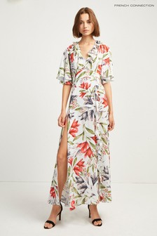 French Connection Baby Blue Floral Print Cadencia Crepe V-Neck Maxi Dress