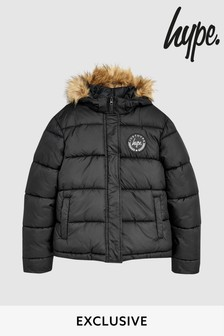 Hype. Black Hooded Parka