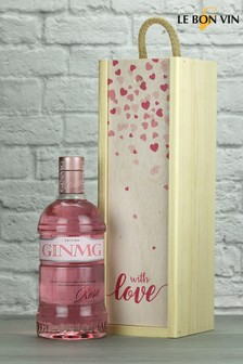 With Love Pink Gin Wood Box Gift By Le Bon Vin