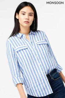 Monsoon Blue Serena Yarn Dye Stripe Linen Shirt