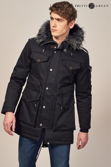Pretty Green Black Stealth Parka