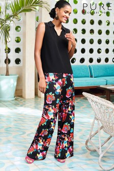 Pure Collection Black Wide Leg Printed Trouser