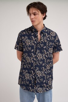 Short Sleeve Paisley Pattern Shirt