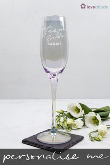 Personalised Iridescent Team Bride Champagne Flute by Loveabode