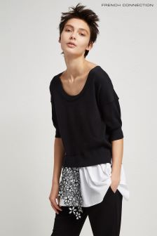 French Connection Black Lace Knits Scoop Neck Jumper