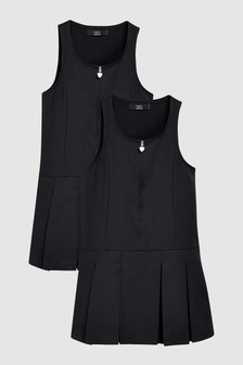 Zip Detail Pinny Dresses Two Pack (3-14yrs)
