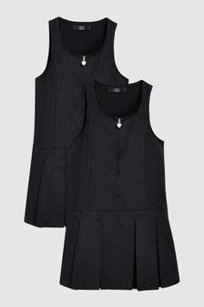 Zip Detail Pinny Dresses Two Pack (3-14yrs)