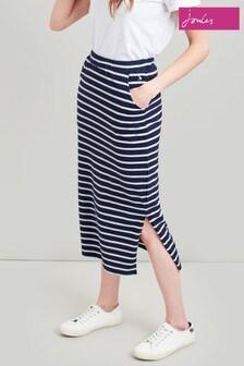 Joules Blue Amara Jersey Midi Skirt