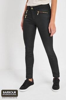 Barbour® International Black Coated Biker Skinny Jean