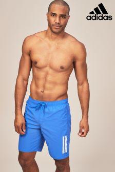 Синие пляжные шорты Adidas с 3-мя полосками