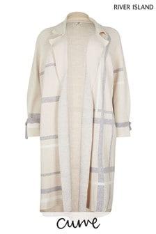 River Island Plus Beige Check Visual Duster Dress