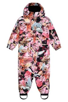 Molo Girls Pink Floral Snowsuit
