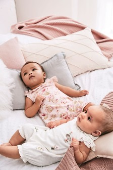 Bunny Embroidery And Floral Rompers Two Pack (0mths-2yrs)