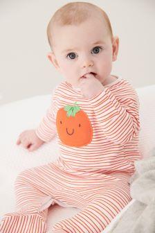 Pumpkin Embroidery Sleepsuit (0-18mths)