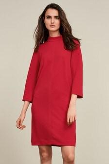 Stitch Detail Jersey High Neck Dress