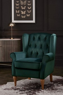 Sherlock II Button Petite Armchair With Mid Legs