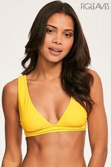 Figleaves Yellow Rene Soft Over The Shoulder Bikini Top