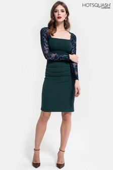 שמלת Hostess בצבע ירוק בקבוק עם תחרה בשרוולים של HotSquash