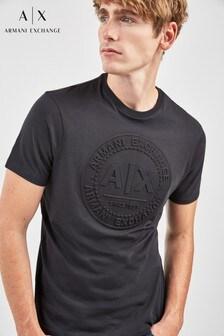 Armani Exchange Black Embossed T-Shirt