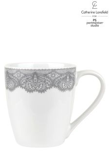 Set of 4 Silver Lace Mugs