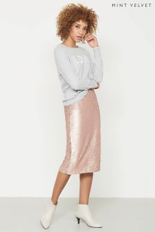 Mint Velvet Pink Sequin Midi Skirt