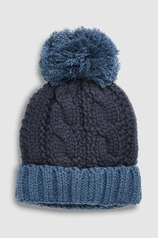 Комбинированная шапка с помпоном (Подростки)