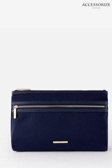 Accessorize Blue Zahra Zip Makeup Bag